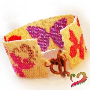 pulsera-abalorios-de-cristal-mariposas-lila-rojo