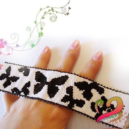 pulsera mariposas blanco negro
