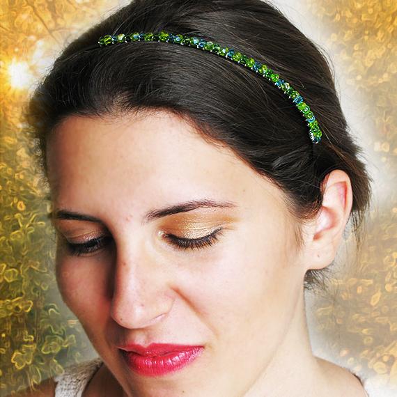 diadema abalorios cristales swarovski verde