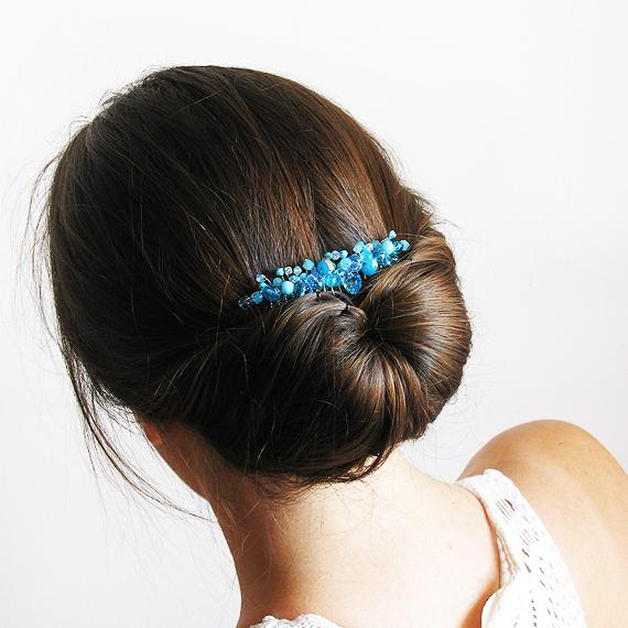 peineta cristales swarovski azul