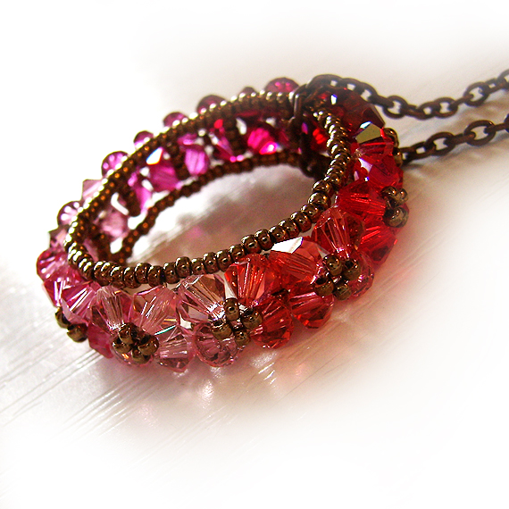 collar circulo swarovski abalorios cristal