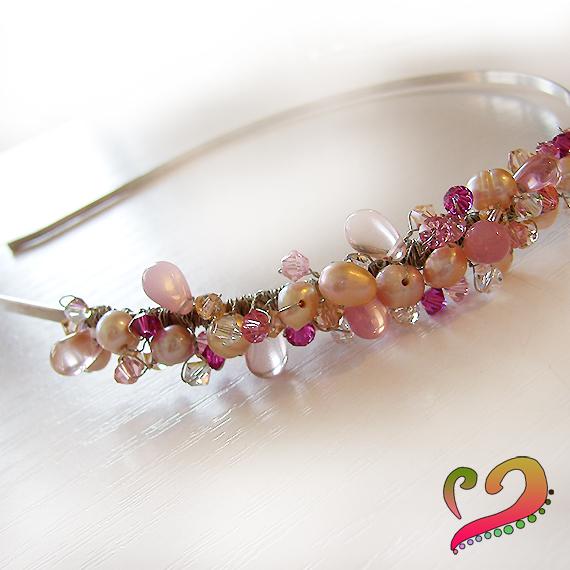tiara diadema novia pelo swarovski abalorios cristal
