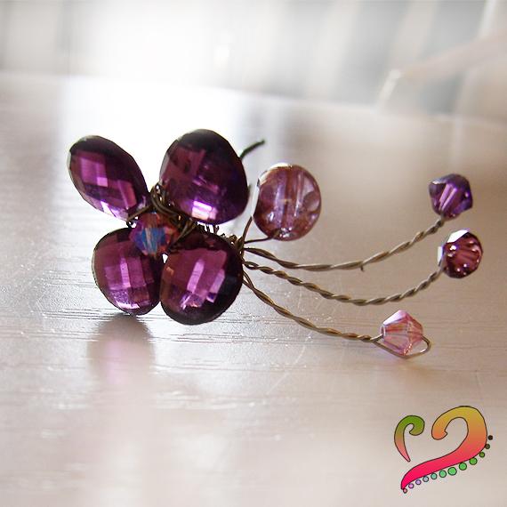 aguja pinza pelo abalorios flor cristal