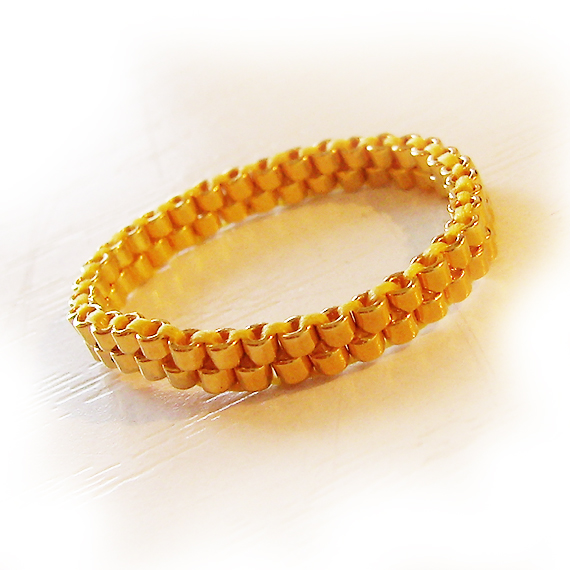 24kt Gold Beads Ring - Gold Thin Stacking Ring