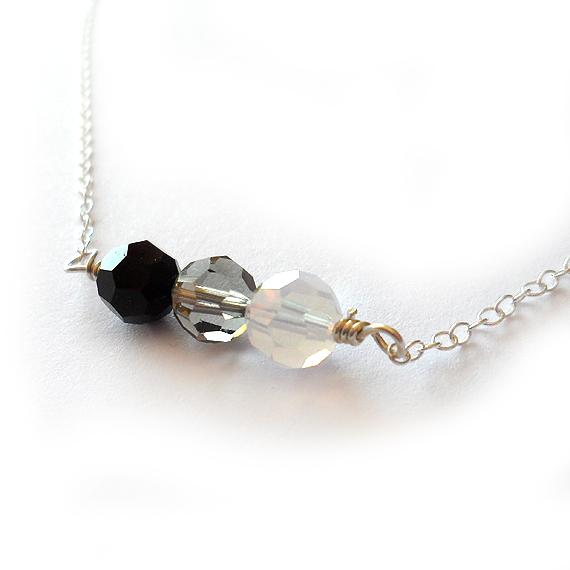 Amaia Necklace with Black Swarovski Beads (2)