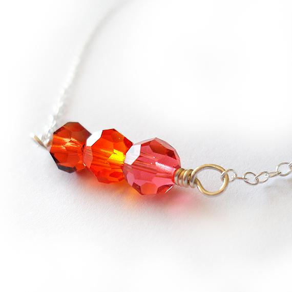 Amanda Necklace with Orange Swarovski Beads (2)