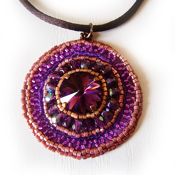 Amethyst Copper Glass Beads Beadwork Necklace (3)
