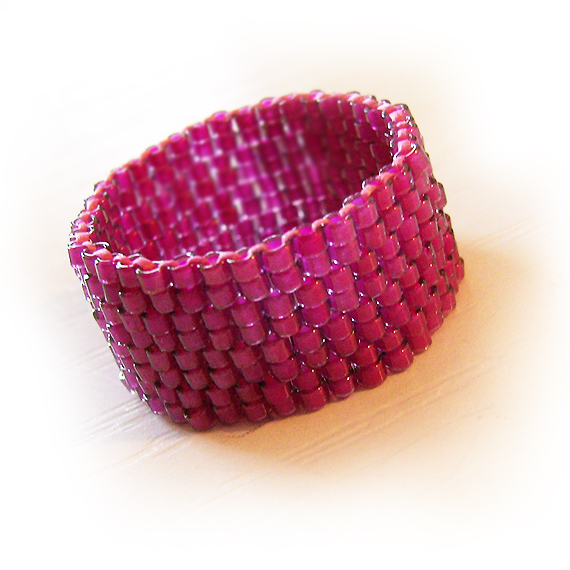 Amethyst Purple Beads Ring - Wide Band Ring