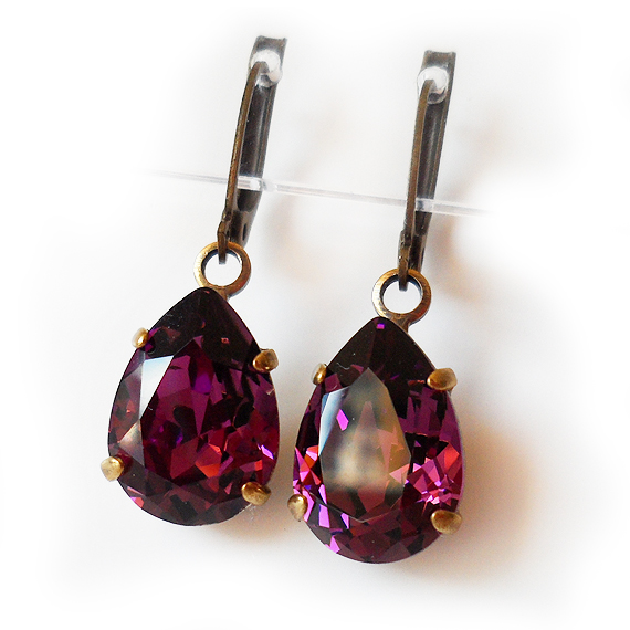Amethyst Swarovski Crystal Earrings - Teardrop Rhinestone Earrings (3)