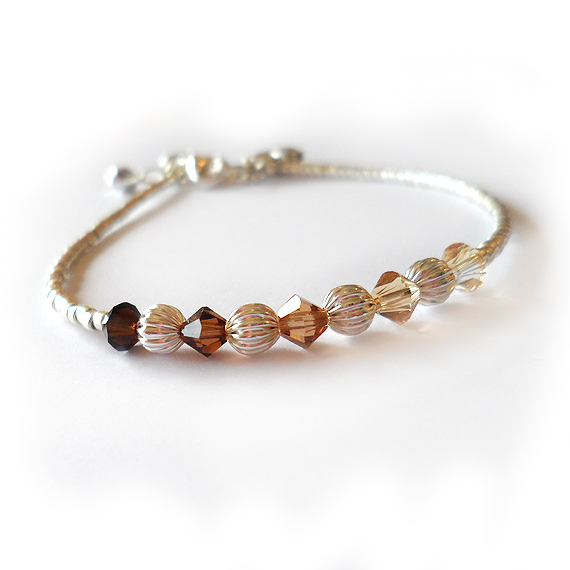 Autumn Ombre Swarovski crystals Bracelet with silver Beads