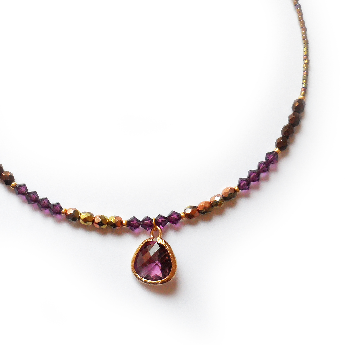 Belize Necklace with purple glass charm and amethyst swarovski ... 665d2df3944c