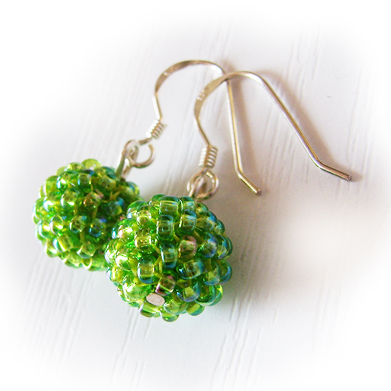 Berry Beaded Dangle Earrings with Peridot Green Beads and set in Sterling Silver Hoops (3)