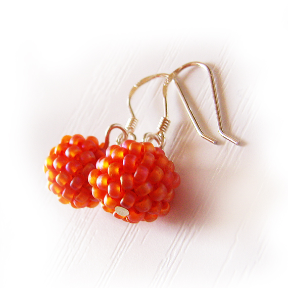 Berry Beaded Orange Earrings - Glass Beads Earrings  (2)
