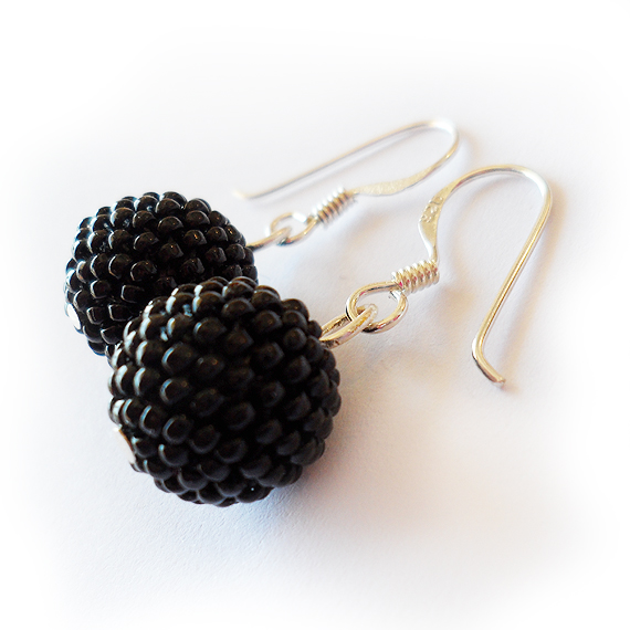 Black Beadwork Earrings – Sterling Silver Earrings (2)