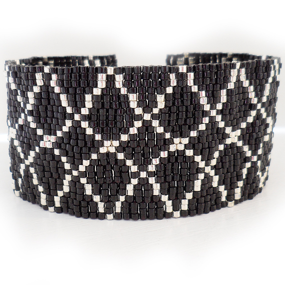 Black and Silver Diamond Cuff Bracelet - Beadwork Bracelet (2)