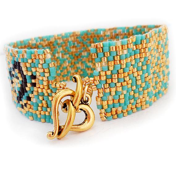 Blue Gold Sprinkles Beadwork Bracelet - Peyote Cuff Bracelet (3)