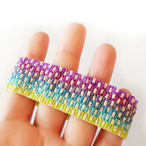 Blue Purple Ombre Glass Beads Bracelet - Greek Key Bracelet (3)
