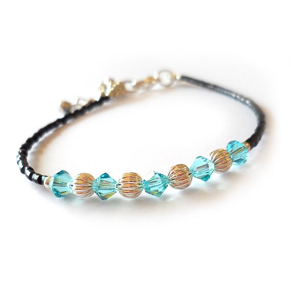 Blue Swarovski crystals Bracelet with silver Beads (2)