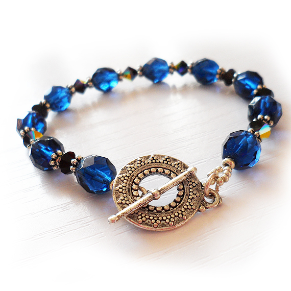 Blue and Black Glass Beads Bracelet - Swarovski Beads Bracelet (4)