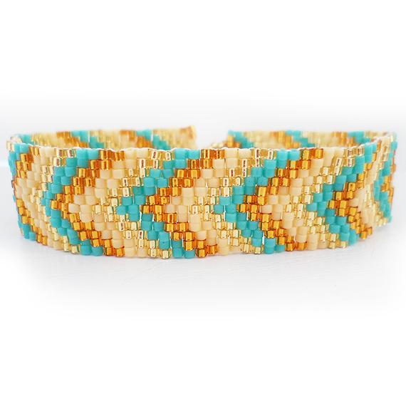 Blue and Gold Glass Beads Bracelet - Arrow Head Beadwork Bracelet (3)