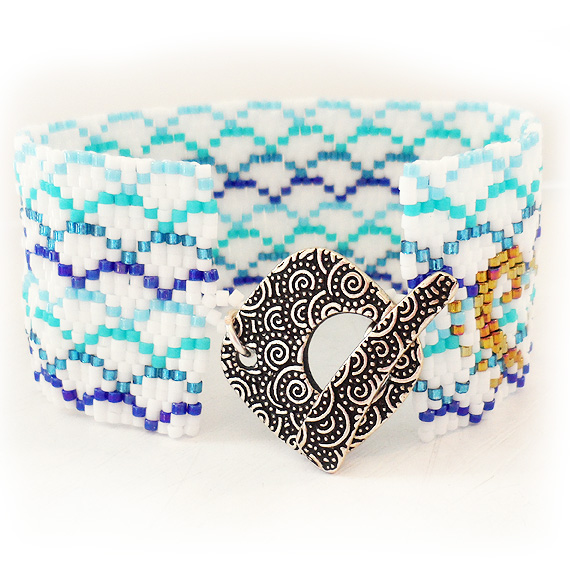 Blue and White Glass Beads Japanese Ocean Cuff Bracelet (4)