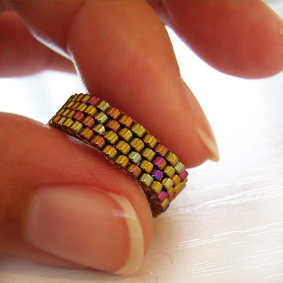 Bronze Glass Beads Ring - Dark Gold Peyote Beadwork Ring (2)