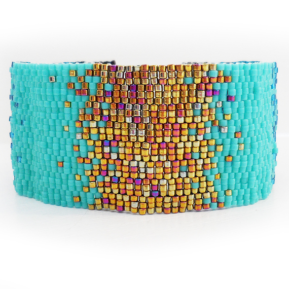 Bronze and Blue Gradient Bracelet - Ombre Glass Beads Bracelet  (7)
