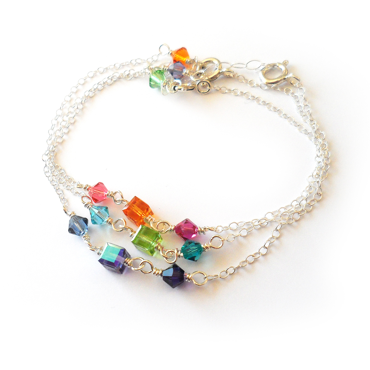 Colorful Swarovski Crystals And Sterling Silver Bracelets Word Of