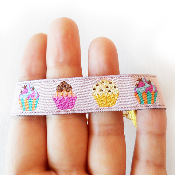 Cupcake Ribbon Bracelet with pink yellow and blue colors  (3)