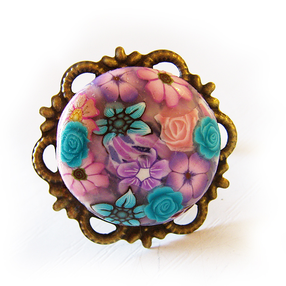 Daisy and Roses Adjustable Ring handmade with Polymer Clay Cabochon Ring (3)