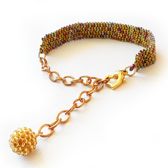Dark Gold Beads Beadwork Bracelet - Dicope Soul Bracelet (3)