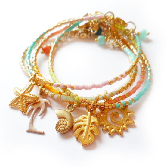 Dreamy Beach Bracelets with glass beads and gold charms (3)
