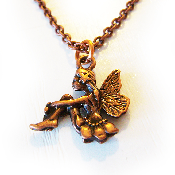 Fairy charm necklace copper bronze or silver fairy pendant shop fairy charm necklace aloadofball Image collections