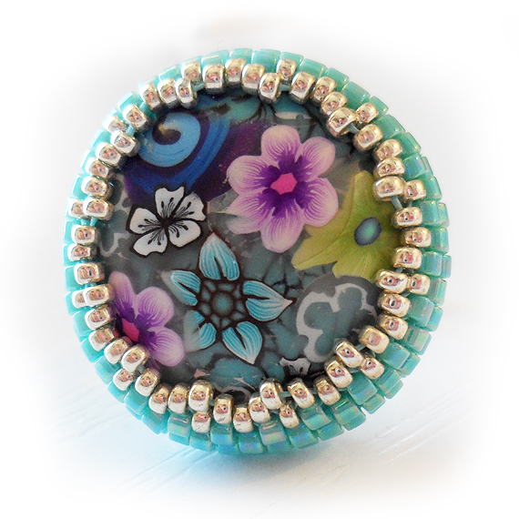 Flower Cabochon Ring with turquoise blue and silver delica glass beads  (2)