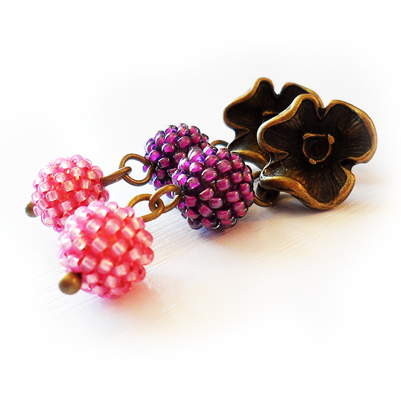 Flower Stud Earrings - Pink and Purple Glass Berry Beads Earrings  (4)