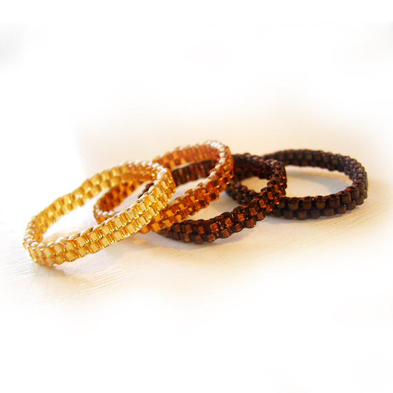 Four Thin Stackable Rings in Gold and Brown Glass Beads (3)