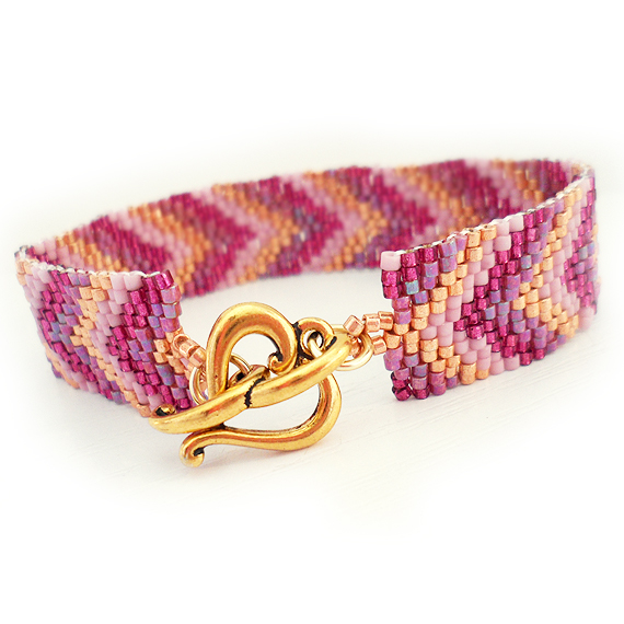 Friendship Bracelet with Glass Beads in Pink Purple Gold  (2)