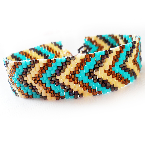 Friendship Bracelet with Glass Beads in Turquoise Blue , Brown and Cream (3)
