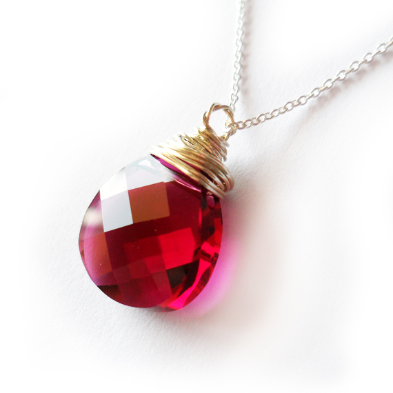 Fuchsia Swarovski Drop Necklace - Sterling Silver Necklace (3)