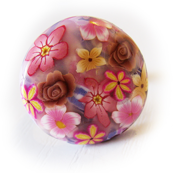 Garden Flowers Adjustable Ring in Pink Yellow and Brown  (2)