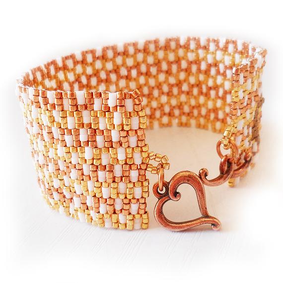 Gold Glass Beads Bracelet - Greek Key Bracelet (4)
