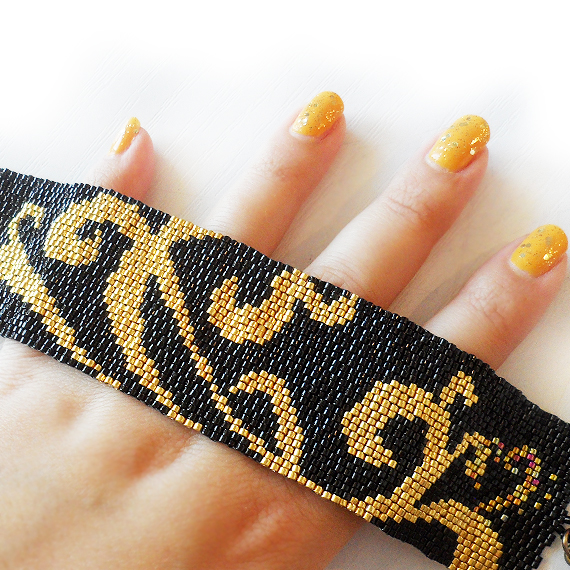 Gold and Black Tattoo Swirls  Bracelet - Beadwork Bracelet
