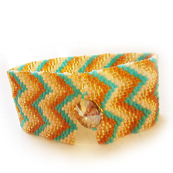 Gold and Blue Beads Zig Zag Bracelet - Espiga Beadwork Bracelet  (2)