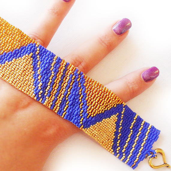 Gold and Blue  Pyramid Lovers Beadwork Bracelet - Wide Peyote Beaded Cuff Bracelet (2)