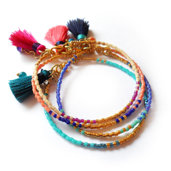 Golden Days Bracelet with glass beads and colorful tassels (2)