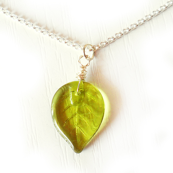 Green Leaf Necklace with Sterling Silver Chain (2)
