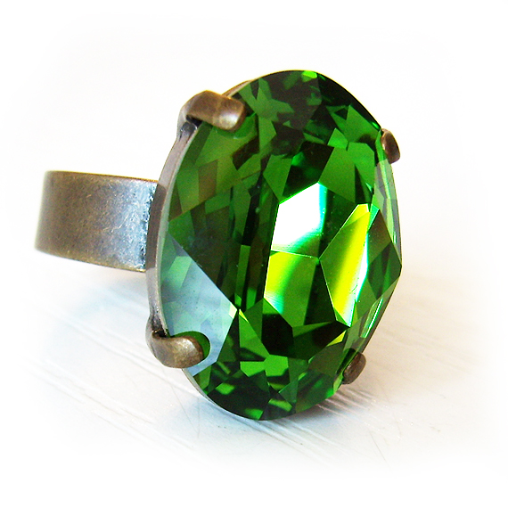 Green Oval Rhinestone Ring (3)