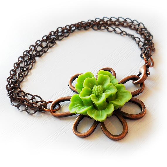 Green Sakura Flower Bracelet (3)