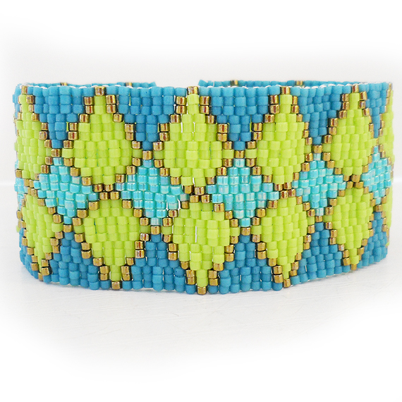 Green and Blue Glass Beads Bracelet - Mixed Rhombus Bracelet (4)