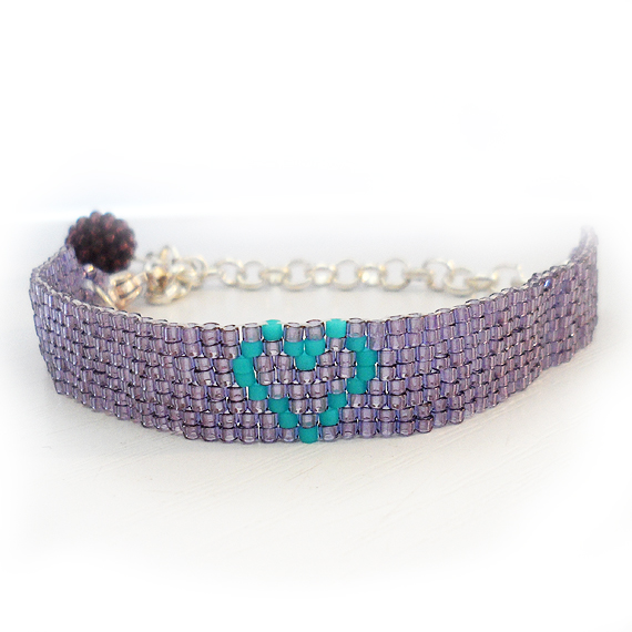 Julia Heart Bracelet with Purple and Blue Glass Beads (3)